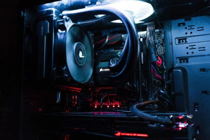 Close up of a gaming PC build