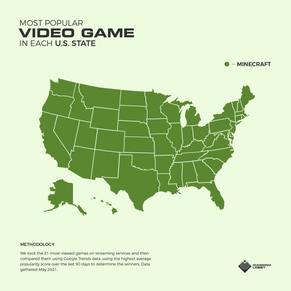 A map showing the most popular game in each US state.