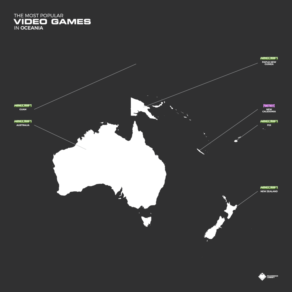 A map showing the most popular games in Oceania with each country labeled.