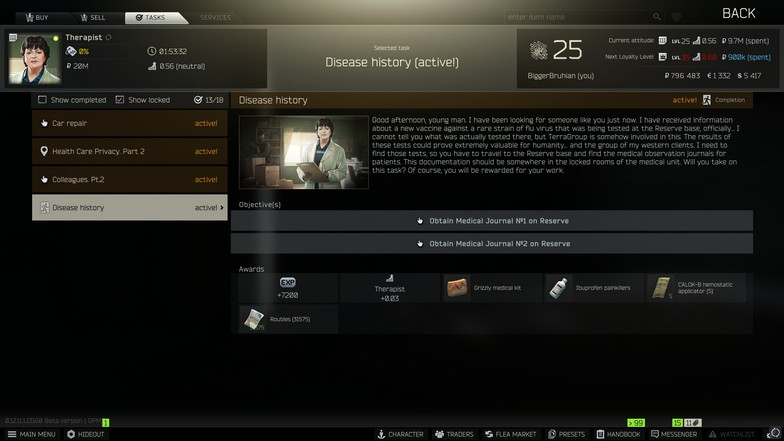 Disease History Quest from Therapist