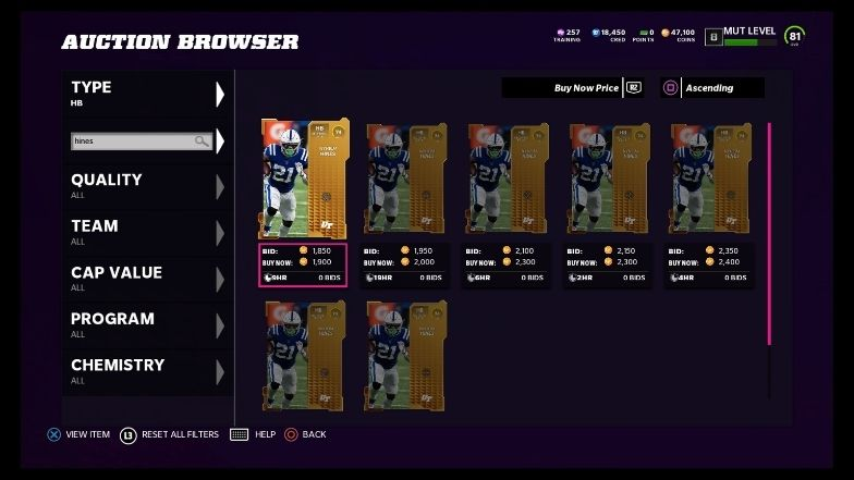 Nyheim Hines in Auctions