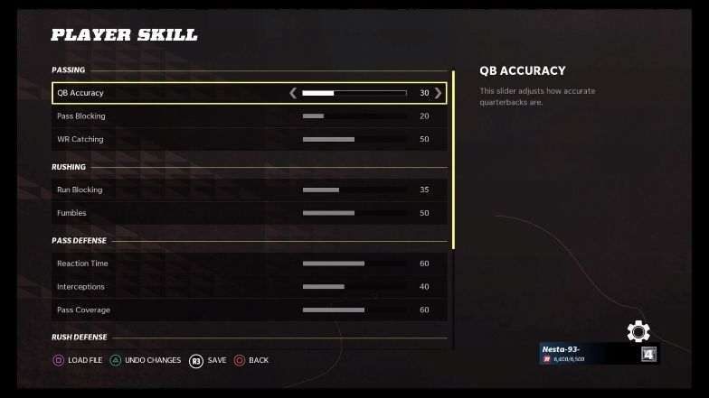 Realistic game sliders - player skill