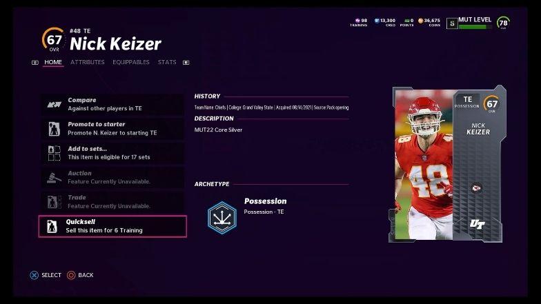 Madden 22 training value for 67 OVR player