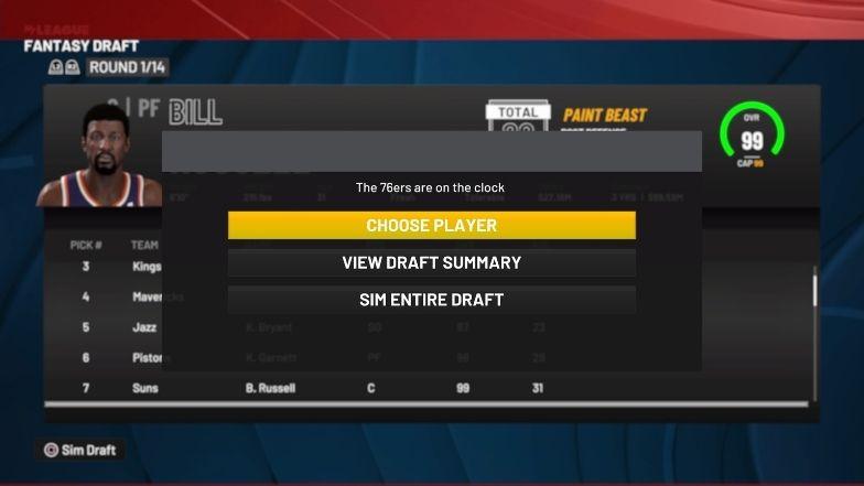 Fantasy Draft choosing a player
